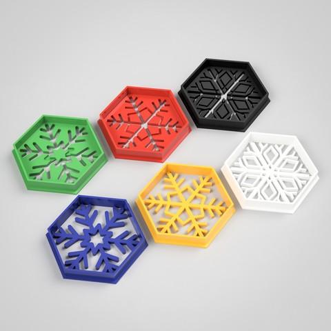 Archivos 3D Cortador de galletas hexagonal para copos de nieve, simonprints