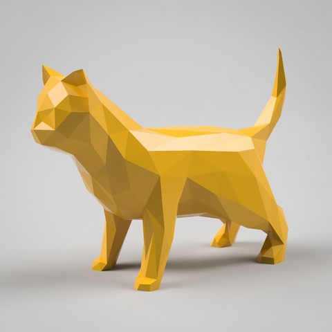 Descargar modelo 3D Modelo 3D de Escultura Low Poly Cat, simonprints