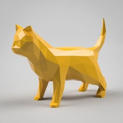 stl file Low Poly Cat Sculpture, simonprints