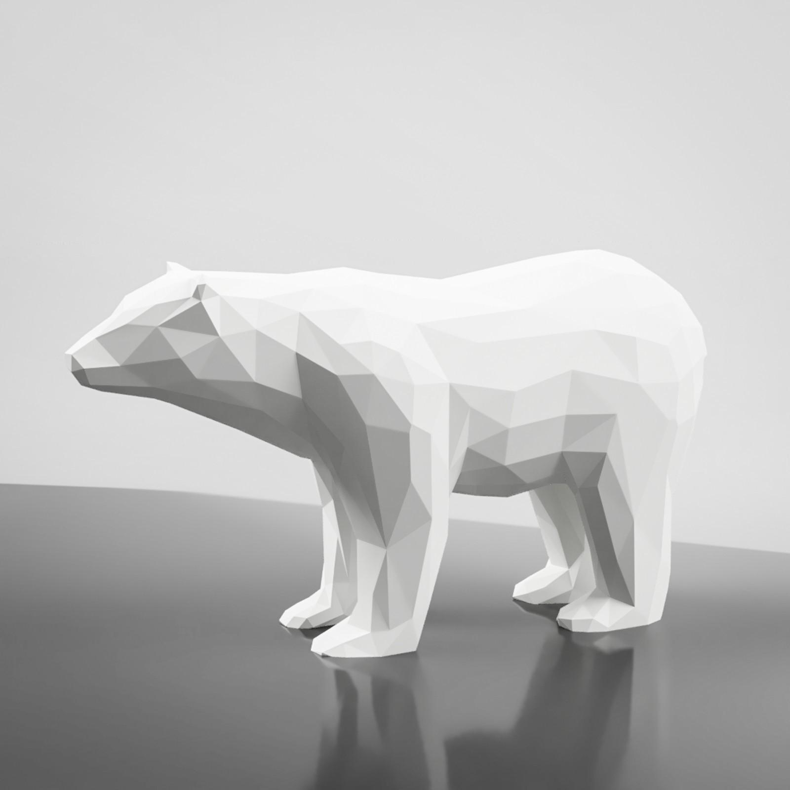 render.jpg Download STL file Low Poly Bear Sculpture 3D Model • 3D printing design, simonprints