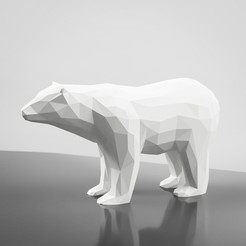 Download STL file Low Poly Bear Sculpture 3D Model, simonprints
