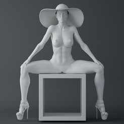 Download STL files Fashion girl sitting on the box, XXY2018