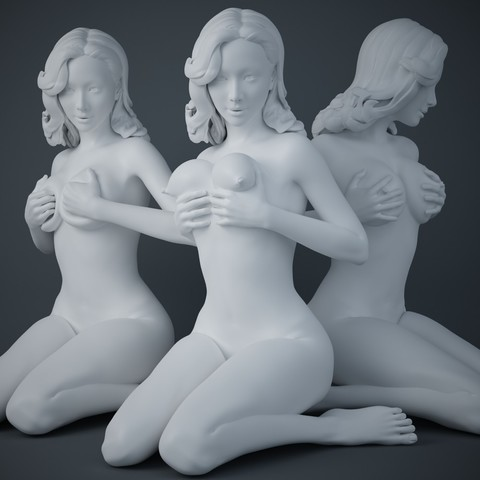3D printer models Woman holding breasts collection, XXY2018