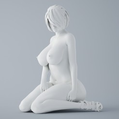 Download STL file NIER AUTOMATA 2B NAKED GIRL SITTING, XXY2018