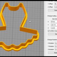 Imprimir en 3D Cortador de galletas del vestido de ballet, coilheaddesigns
