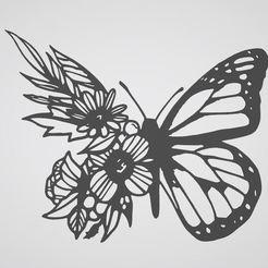 Download 3D printer files butterfly flower stickers , flower butterfly, dderaedt