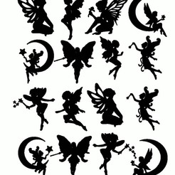 16 fees.jpg Download 3MF file 16 fairies stickers for kids bedroom decor • Design to 3D print, dderaedt