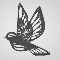 Descargar STL Decoración de pared flor de pájaro, dderaedt