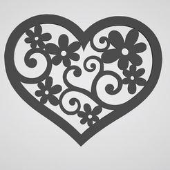 coeur fleur.JPG Télécharger fichier STL stickers mural coeur fleur heart flower • Plan pour impression 3D, dderaedt