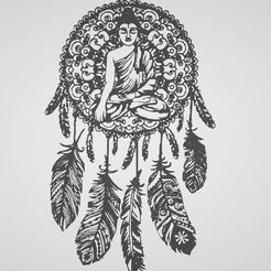 attrape reve bouda fin.JPG Download STL file stickers catches dreams Buddha, dream Catcher • 3D printer design, dderaedt