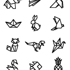 12 animaux origami.jpg Download 3MF file stickers set of 12 animals origami children bedroom • 3D print template, dderaedt