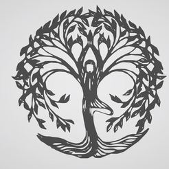 Download 3D printing models sticker tree of life woman, woman life tree, dderaedt