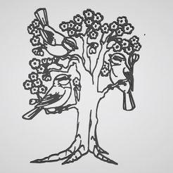 Télécharger fichier STL sticker arbre oiseau tree bird, dderaedt