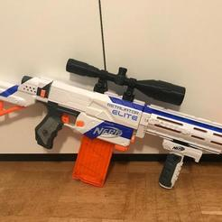 Free STL files Nerf Gun Elite Sniper Scope, OneIdMONstr