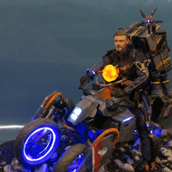 cults_q3.png Download STL file Death Stranding Sam on his bike with LED lights • 3D printable template, OneIdMONstr