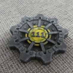 Free 3d printer model stackable fallout vault door coaster, OneIdMONstr