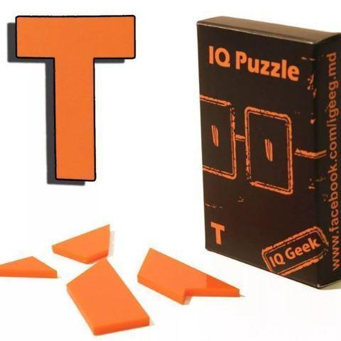 """Télécharger plan imprimante 3D gatuit Puzzle Assemblez une lettre """"T"""" de 4 pièces, Cerega"""