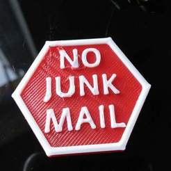 Free 3D printer files No Junk Mail - Stop sign, 3DME