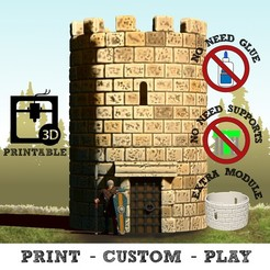 3d printer designs Modular Watchtower - WarGames - Scenary - 3D Printable kit, SergioGE