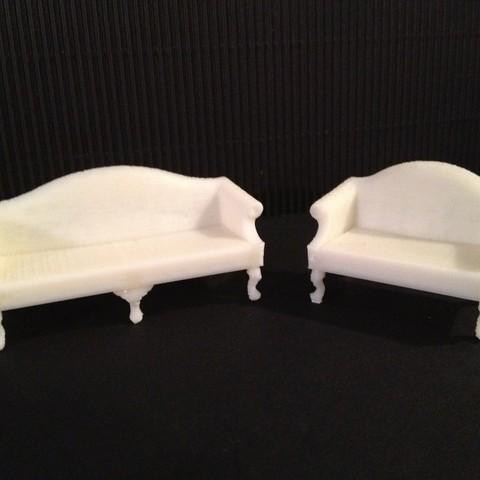 Stl Files Miniature Queen Anne Sofa