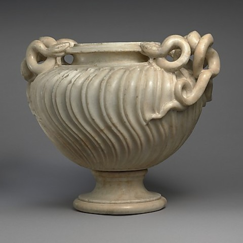 Download free 3D printing files Marble strigilated vase with snake handle, metmuseum