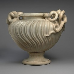 Free 3D model Marble strigilated vase with snake handle, metmuseum