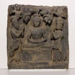 Free 3D printer designs Relief with Buddha Worshipped by Indra and Brahma, ArtInstituteChicago