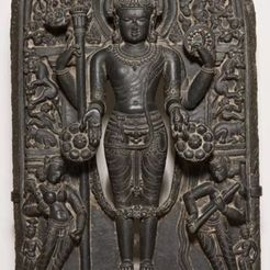 Free 3D printer files God Vishnu with His Consorts Lakshmi and Sarasvati, ArtInstituteChicago