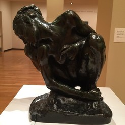 Free 3D printer files Crouching Woman, Rodin, 3D scan, ArtNerd3D
