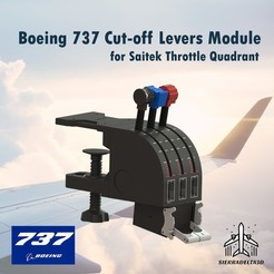 6.jpg Download STL file Boeing 737 Cut-off Levers Module for Saitek Throttle Quadrant  • 3D printer design, Juzeq
