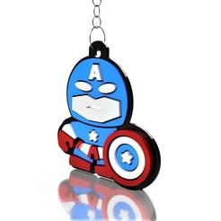 Capitão america 2.jpg Télécharger fichier STL porte-clés captain america • Design à imprimer en 3D, Make3DCAD