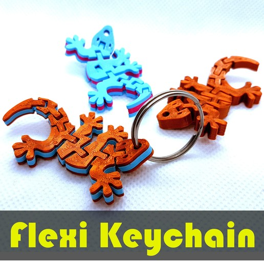 jtronics_flexi_geckodual.jpg Télécharger fichier STL gratuit Porte-clés articulé Flexi - Gecko Dual Color • Plan pour impression 3D, jtronics