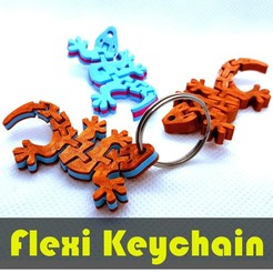 jtronics_flexi_geckodual.jpg Download free STL file Flexi Articulated Keychain - Gecko Dual Color • 3D printer model, jtronics