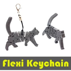 jtronics_flexi_cat.jpg Download free STL file Flexi Articulated Keychain - Cat • 3D printing design, jtronics