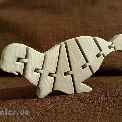 Télécharger plan imprimante 3D gatuit Phoque Flexi articulé pour chien de mer, jtronics