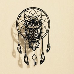 FullSizeRender(2).jpg Download STL file Owl dream Catcher (Buho, lechuza, atrapasueños). Arte 2D. • Template to 3D print, sergiomdp01
