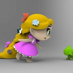 untitled.134.jpg Télécharger fichier STL Modèle d'impression 3D des princesses Rapunzel et Pascal Collection • Objet pour impression 3D, idrivn30