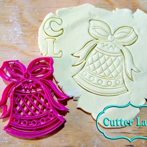 Download free 3D print files Christmas bell cookie cutter, CutterLabs