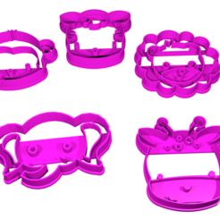 animales de la selva.png Download free STL file Animals of the jungle cookie cutter 6cm • Object to 3D print, CutterLabs
