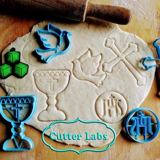 Download free STL file church religion comunion set x4 cookie cutter, CutterLabs