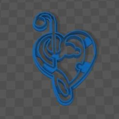 Download free STL cookie cutter musical heart, CutterLabs