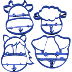 animales de granja.png Download free STL file Animal farm cookie cutter 7cm • Model to 3D print, CutterLabs