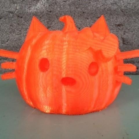 Télécharger plan imprimante 3D gatuit Chat Citrouille, RodrigoPinard