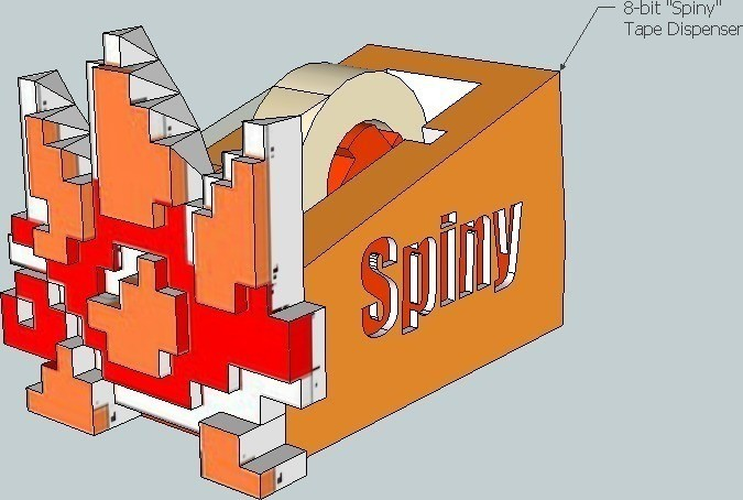 2_display_large_display_large.jpg Download free STL file Spiny 8-bit Tape Koopa • 3D printing design, DelhiCucumber