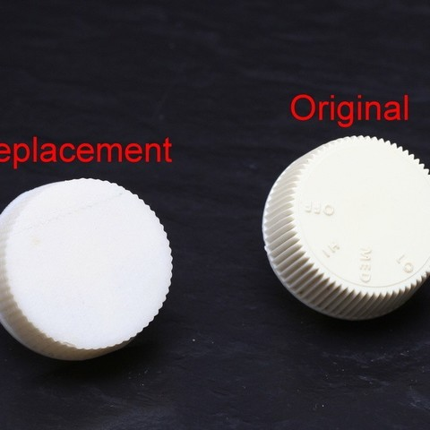 2012_09_Fan_Knob2_edit_display_large.jpg Download free STL file Replacement Fan Knob • 3D printer template, FunnyJohnnyPrinter