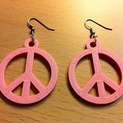 Free 3D print files Peace Earring, ErnyCrazyPrinter