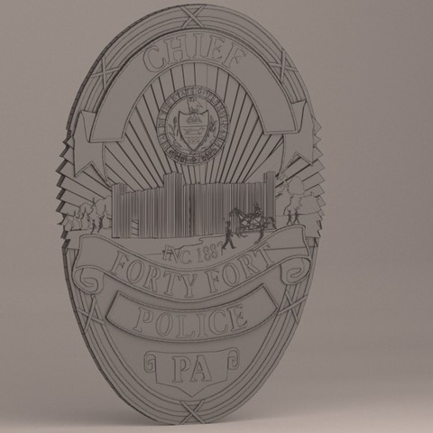 Free 3D print files Forty Fort Police Badge, baselrafat