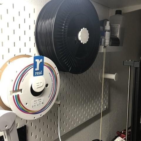 Download free 3D printing models BIG SPOOL (3Kg) IKEA Skadis spool holder with bearings, 3DED