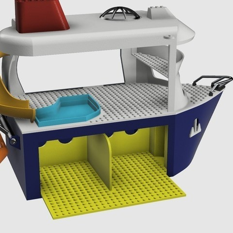 Download free 3D printing models Kids (Lego compatible) Cruise Boat, 3DED