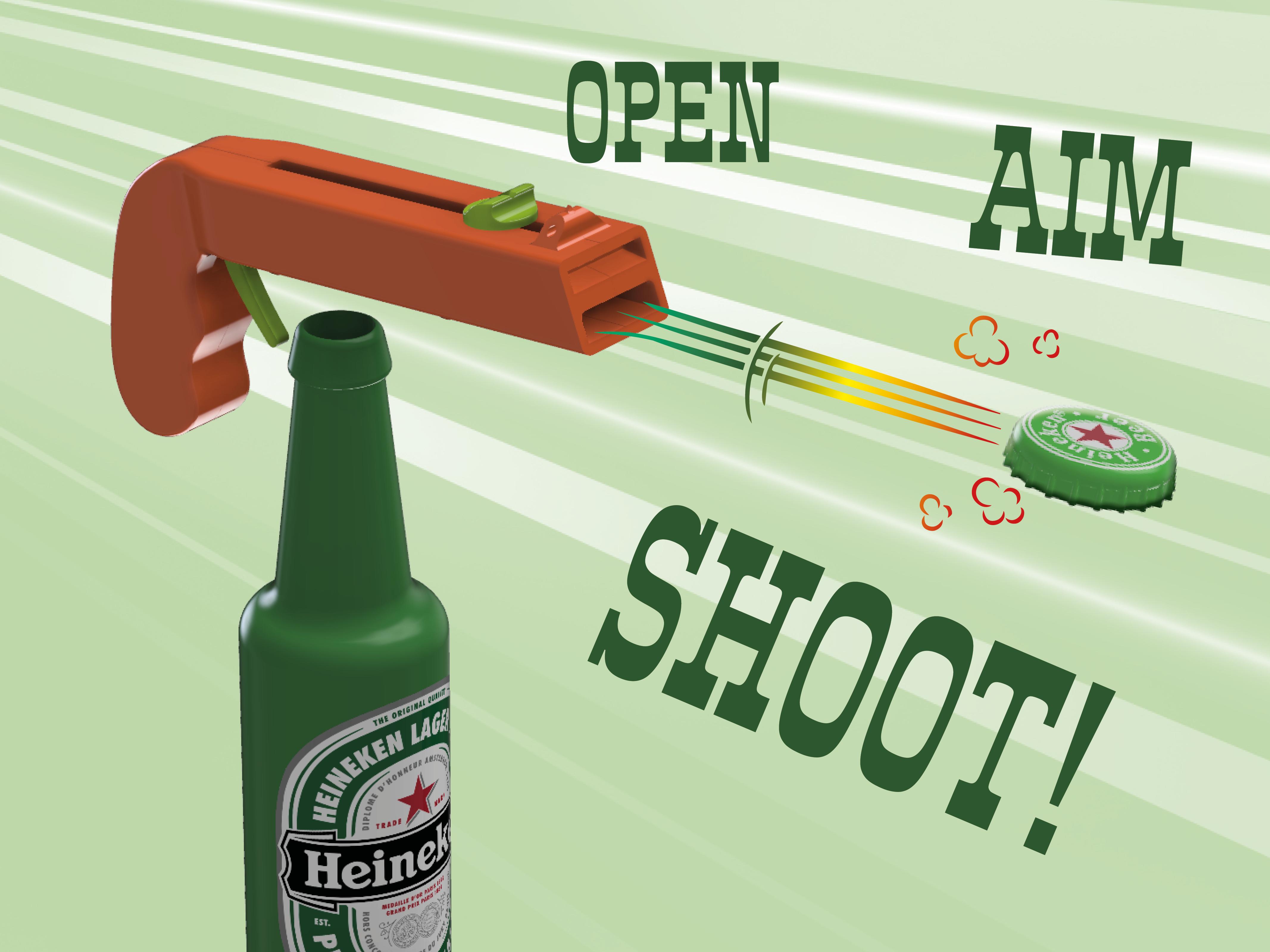 T.png Download free STL file Bottle Opener and Cap GUN! • 3D printable template, 3DED